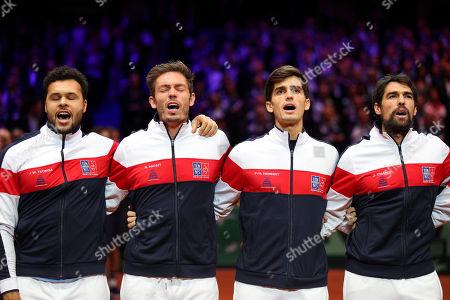 Jo Wilfried Tsonga, Nicolas Mahut, Pierre Hugues Herbert and Jeremy Chardy sing the French National Anthem