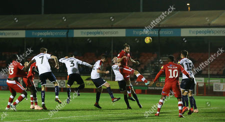Joe McNerney of Crawley heads in Crawleys second goal during the EFL league two match between Crawley Town and Crewe Alexandra at the Broadfield Stadium in Crawley. 24 November 2018