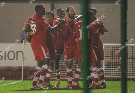 Joe McNerney of Crawley celebrates scoring during the EFL league two match between Crawley Town and Crewe Alexandra at the Broadfield Stadium in Crawley. 24 November 2018