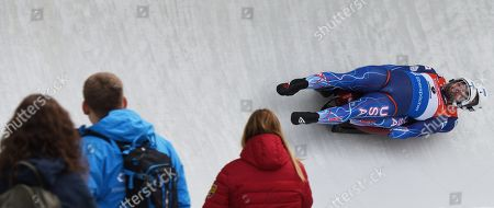 Chris Mazdzer and Jayson Terdiman of the USA in action during the doubles competition of the  of the Luge World Cup Race in Innsbruck, Austria, 24 November 2018.