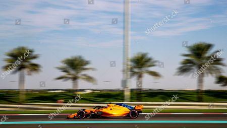Belgian Formula One driver Stoffel Vandoorne of McLaren in action during the third practice session at Yas Marina Circuit in Abu Dhabi, United Arab Emirates, 24 November 2018. The Formula One Grand Prix of Abu Dhabi will take place on 25 November 2018.
