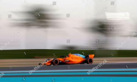Belgian Formula One driver Stoffel Vandoorne of McLaren steers his car during the qualifying session of Abu Dhabi Formula 1 Grand Prix 2018 at Yas Marina Circuit in Abu Dhabi, United Arab Emirates on 24 November 2018. The Formula One Grand Prix of Abu Dhabi will take place on 25 November 2018