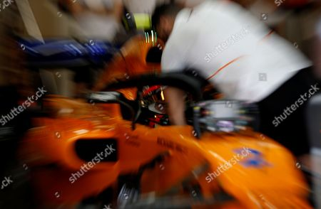 Belgian Formula One driver Stoffel Vandoorne of McLaren  during the third practice session of Abu Dhabi Formula 1 Grand Prix 2018 at Yas Marina Circuit in Abu Dhabi, United Arab Emirates on 24 November 2018. The Formula One Grand Prix of Abu Dhabi will take place on 25 November 2018