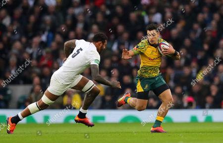 England vs Australia. England's Courtney Lawes with Australia's Matt Toomua
