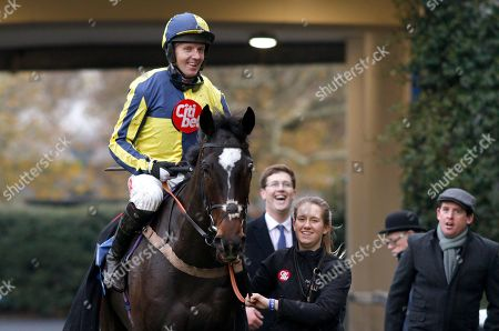 Stock Picture of IF THE CAP FITS (Noel Fehily) with Harry Fry and Jason Maguire after The Coral Hurdle Ascot