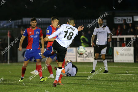 George Porter of Bromley takes a shot at the Dagenham goal during Bromley vs Dagenham & Redbridge, Vanarama National League Football at the H2T Group Stadium on 24th November 2018