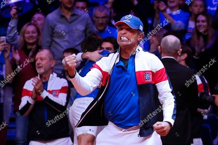 French Davis Cup team captain Yannick Noah celebrates after the doubles match of the Davis Cup Final between France and Croatia at the Pierre Mauroy Stadium in Villeneuve-d'Ascq, near Lille, France, 24 November 2018.