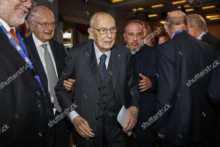 Former Italian President Giorgio Napolitano (C) during the 'MED 2018 - Mediterranean Dialogues' meeting in Rome 24 November 2018.