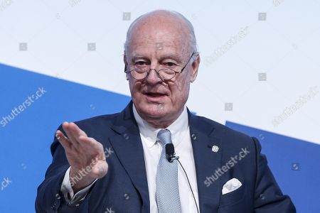 Staffan De Mistura, United Nations Special Envoy to Syria, during the 'MED 2018 - Mediterranean Dialogues' meeting in Rome 24 November 2018.
