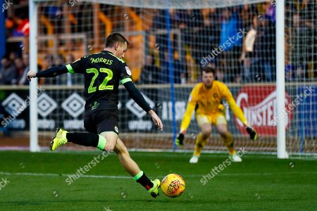 Forest Green Rovers forward Ben Morris (22), on loan from Ipswich town, with a shot during the EFL Sky Bet League 2 match between Carlisle United and Forest Green Rovers at Brunton Park, Carlisle