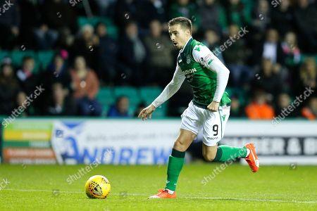Jamie Maclaren (#9) of Hibernian bursts into the penalty area during the Ladbrokes Scottish Premiership match between Hibernian and Dundee at Easter Road, Edinburgh