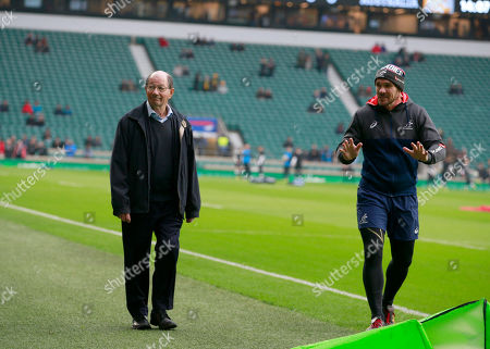 Ian Robertson (left) the BBC Radio rugby commentator before his final match