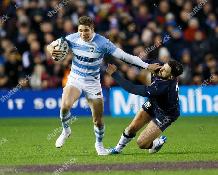 Sebastian Cancelliere of Argentina (L) and Alex Dunbar of Scotland (R) in action during the warm up Scotland v Argentina Autumn Test match in Edinburgh, Britain, 24 November 2018.