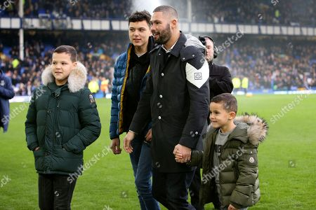 Liverpool boxer Tony Bellew and his boys make an appearance in front of the Goodison crowd during the Premier League match between Everton and Cardiff City at Goodison Park, Liverpool