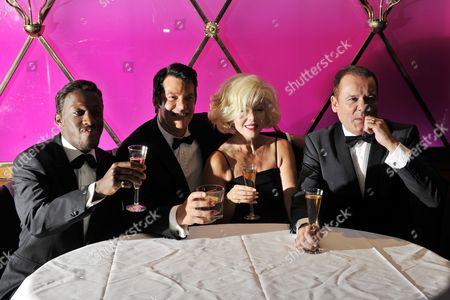 (L to R) Giles Terera (Sammy Davies Jnr.), Sam Kane (Dean Martin), Louis Hoover (Frank Sinatra)and Sunny Thompson (Marilyn Monroe)