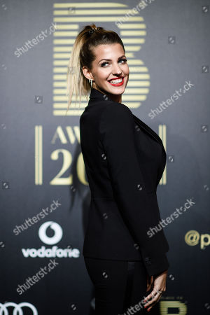 Sarah Harrison arrives for the Place To B Award 2018 at Axel Springer SE in Berlin, Germany, 24 November 2018. The award is for the most important social media celebrities, bloggers and YouTube creators.