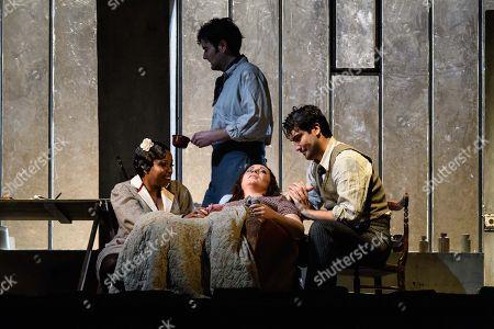 Nadine Benjamin (Musetta), Nicholas Lester (Marcello), Natalya Romaniw (Mimi), Jonathan Tetelman (Rodolfo)