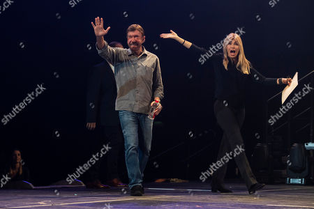 US actor and martial artist Chuck Norris, this year?s special guest walks onstage next to his wife, Gena O'Kelley during the opening gala of the 15th Shoe Box fundraising event in Papp Laszlo Sports Arena in Budapest, Hungary, 24 November 2018. The annual Christmas charity campaign was launched by the Hungarian Baptist Aid (HBAid) in 2004 to collect and distribute gifts donated by the public for underprivileged children during Advent. The organisation receives the labelled and boxed presents at nearly 300 designated collection points in the country.