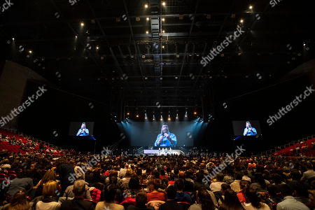 The audience listens to the speech of US actor and martial artist Chuck Norris, this year?s special guest during the opening gala of the 15th Shoe Box fundraising event in Papp Laszlo Sports Arena in Budapest, Hungary 24 November 2018. The annual Christmas charity campaign was launched by the Hungarian Baptist Aid (HBAid) in 2004 to collect and distribute gifts donated by the public for underprivileged children during Advent. The organisation receives the labelled and boxed presents at nearly 300 designated collection points in the country.