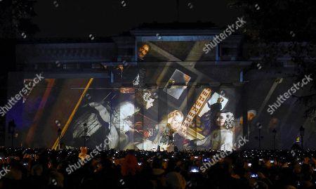 La Fura dels Baus theatre company performs on the occasion of the 200 anniversary of Prado Museum at Prado Museum in Madrid, Spain, 24 November 2018.