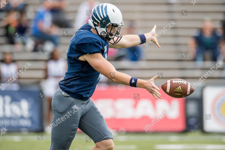 Rice Owls kicker Jack Fox (2) punts during the 3rd quarter of an NCAA football game between the Old Dominion Monarchs and the Rice Owls at Rice Stadium in Houston, TX. Rice won the game 27 to 13