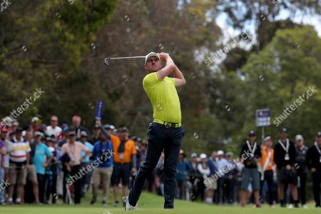 Alexander Bjork of Sweden hits an approach shot to the 15th during the World Cup of Golf Tournament at The Metropolitan Golf Club in Melbourne, Australia, 25 November 2018.