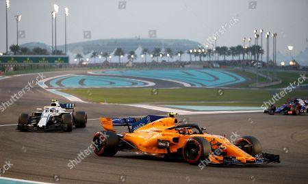 Belgian Formula One driver Stoffel Vandoorne of McLaren steers his car during Abu Dhabi Formula 1 Grand Prix 2018 at Yas Marina Circuit in Abu Dhabi, United Arab Emirates on 25 November 2018.