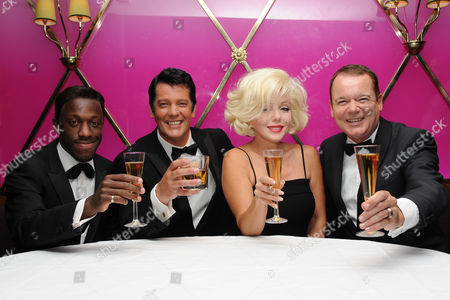 (L to R) Giles Terera (Sammy Davies Junior), Sam Kane (Dean Martin), Louis Hoover (Frank Sinatra) and Sunny Thompson (Marilyn Monroe)