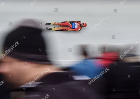 Chris Rene Eissler of Germany in action during the first run of the Men's Luge World Cup Race in Innsbruck, Austria, 25 November 2018.