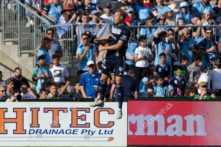 Melbourne Victory forward Ola Toivonen (11) celebrates his goal at the Hyundai A-League Round 5 soccer match between Sydney FC and Melbourne Victory at Jubilee Stadium in NSW