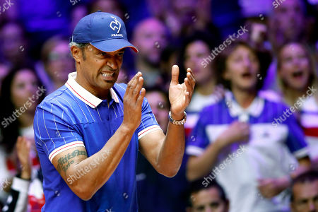 French Davis Cup team captain Yannick Noah reacts during  the Davis Cup Final between France and Croatia at the Pierre Mauroy Stadium in Villeneuve-d'Ascq, near Lille, France, 25 November 2018.