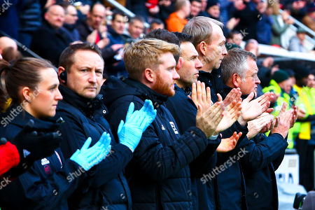 Sheffield United manager Chris Wilder, Sheffield United assistant manager Alan Knill during a minutes applaud