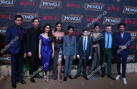 Actors from left to right, Abhishek Bachchan, Christian Bale, Madhuri Dixit, Kareena Kapoor, Rohan Chand, Louis Serkis, Freida Pinto, Andrew Serkis and Anil Kapoor pose at a red carpet of Netflix's Mowgli world premier in Mumbai, India