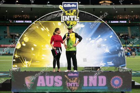 Australian player Aaron Finch (c) at the presentation at the International Gillette T20 cricket match between Australia and India at The Sydney Cricket Ground in NSW