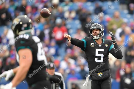 Stock Photo of Jacksonville Jaguars quarterback Blake Bortles (5) throw a pass to fullback Tommy Bohanon (40) during the first half of an NFL football game against the Buffalo Bills, in Orchard Park, N.Y