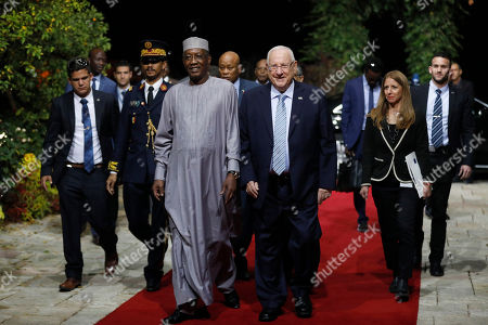 Stock Image of President Reuven Rivlin (R) welcomes President Idriss Deby Itno (L) of Chad during their meeting at the President's Residence in Jerusalem, Israel, 25 November 2018.