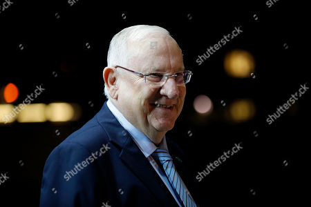 Stock Photo of Israeli President Reuven Rivlin waits for President Idriss Deby Itno of Chad (not pictuerd) ahead of their meeting at the President's Residence in Jerusalem, Israel, 25 November 2018.
