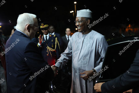 Stock Image of President Reuven Rivlin (L) welcomes President Idriss Deby Itno (R) of Chad during their meeting at the President's Residence in Jerusalem, Israel, 25 November 2018.