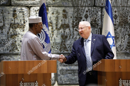 Stock Picture of President Reuven Rivlin (R) shakes hands with President Idriss Deby Itno (L) of Chad during their meeting at the President's Residence in Jerusalem, Israel, 25 November 2018.