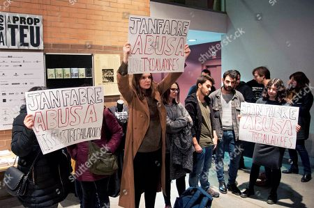 Female activists protest against the performance of a Belgian artist Jan Fabre's theater work at Salt Theater in Girona, Spain, 25 November 2018. Reports state that Jan Fabre had been accused of sexual harassment by twenty dancers of his company last September.
