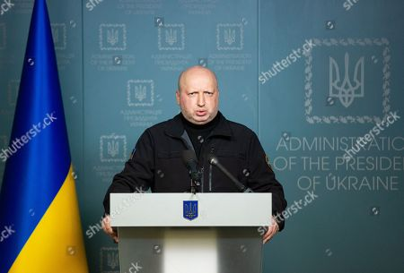Oleksandr Turchynov, the Secretary of the National Security and Defence Council of Ukraine, speaks during his statement in Kiev, Ukraine, 25 November 2018. Russia has seized three Ukrainian vessels amid their leaving the Kerch Strait; Ukrainian President Petro Poroshenko is gathering the Military Cabinet over the incident. The two small-sized 'Berdiansk' and 'Nikopol' armored artillery boats have come under enemy fire and are now dead in the water. The 'Yany Kapu' tugboat has forcibly been stopped. The vessels have been captured by special forces of the Russian Federation, the press service of Ukraine's Navy said on Facebook on Sunday evening. The Ukrainian Navy also reported the number of the Ukrainian servicemen wounded in the incident grew to two persons as Ukrainian media report.