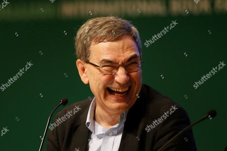 Stock Image of Turkish author and Nobel Prize laureate Orhan Pamuk participates in a talk at the International Book Fair (FIL) in Guadalajara, Mexico, 25 November 2018. For nine days, from 24 November to 02 December the 32nd edition of the FIL will bring together 20,000 book professionals and more than 2,000 publishers in 34,000 square meters of exhibition, where about 400,000 titles will be on sale.