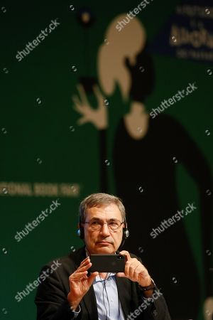 Turkish author and Nobel Prize laureate Orhan Pamuk participates in a talk at the International Book Fair (FIL) in Guadalajara, Mexico, 25 November 2018. For nine days, from 24 November to 02 December the 32nd edition of the FIL will bring together 20,000 book professionals and more than 2,000 publishers in 34,000 square meters of exhibition, where about 400,000 titles will be on sale.