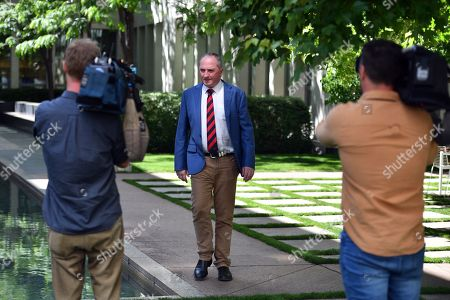National Party MP Barnaby Joyce srrives at a press conference at Parliament House in Canberra, Australia, 26 November 2018. Joyce voiced his support for the culling of carp in Australia's rivers, as the invasive species' activities stir up sediment and reduces water clarity, which in turn harms indigeonous marine animals and plants.