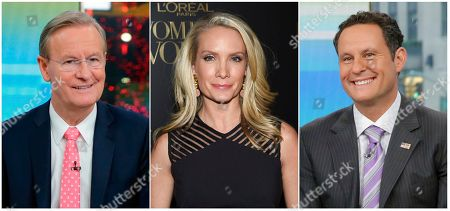 """Stock Picture of This combination of photos shows Fox News Channel personalities, from left, Steve Doocy, Dana Perino and Brian Kilmeade. Doocy will host a cooking show, tied to a cookbook he's releasing, Perino will have a book club highlighting new releases and Kilmeade, a history buff, will host a show called, """"What Makes America Great,"""" on the new streaming service Fox Nation, that launches Tuesday"""