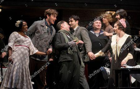 Nadine Benjamin as Musetta, Nicholas Lester as Marcello, David Soar as Colline, Jonathan Tetelman as Rodolfo, Natalya Romaniw as Mimi