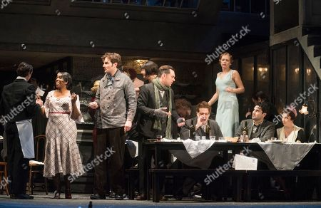 Nadine Benjamin as Musetta, Nicholas Lester as Marcello, David Soar as Colline, Bozidar Smiljanic as Schaunard, Jonathan Tetelman as Rodolfo, Natalya Romaniw as Mimi