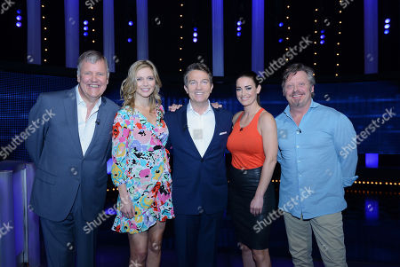 (L-R) Clive Tyldesley, Rachel Riley, Bradley Walsh, Kirsty Gallacher and Charley Boorman