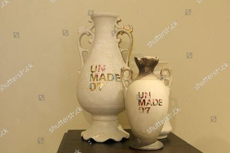 Vases from her 'Unmade' series by Karen Ryan  at the showroom of Rabih Hagein Sloane Avenue, Chelsea