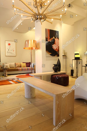 'Wine Bench' by Rabih Hage (foreground) in his showroom, Sloane Avenue, Chelsea